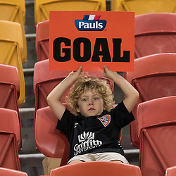 BRISBANE, AUSTRALIA - OCTOBER 7: A child alone in the stands during the round 1 Hyundai A-League match between the Brisbane Roar and Melbourne Victory at Suncorp Stadium on October 7, 2016 in Brisbane, Australia. (Photo by Patrick Kearney/Brisbane Roar)
