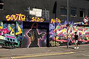 South Side Mafia graffiti street art in Digbeth on 15th June 2021 in Birmingham, United Kingdom.