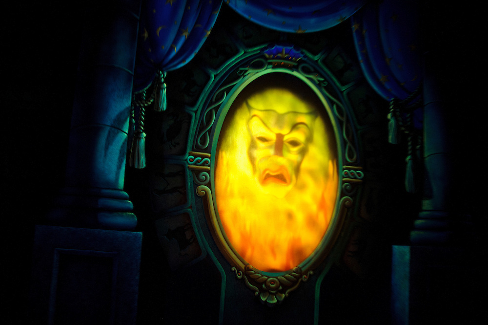 """photo by Matt Roth.Tuesday, May 1, 2012..The famed Magic Mirror in the Disney classic cartoon film """"Snow White and the Seven Dwarfs"""" is part of the """"Snow White's Scary Adventure ride."""" After forty-one-years, Disney World is closing the Snow White's Scary Adventure ride June 1st of this year."""