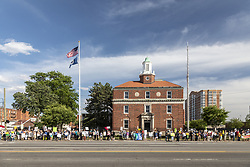 June 14, 2018 - Detroit, Michigan, U.S. - Detroit, Michigan USA - 14 June 2018 - Protesters oppose the Trump administration's policy of separating young children from their parents at the U.S.-Mexico border. Lining the street outside the Immigration and Customs Enforcement detention center, the group was part of nationwide protests in many cities organized by Families Belong Together. (Credit Image: © Jim West via ZUMA Wire)
