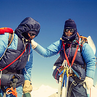 John Fischer and Jay Jensen making the decision to retreat off Baruntse, 1980.