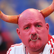 New York Red Bull fan John Russ, known as Johnny Toro on match days when dressed for the game, during the New York Red Bulls Vs Houston Dynamo, Major League Soccer regular season match at Red Bull Arena, Harrison, New Jersey. USA. 4th October 2014. Photo Tim Clayton