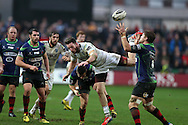 Alex Cuthbert  of Cardiff Blues © collides with Lewis Evans of the Dragons ® as they jump for a high ball. . Guinness Pro12 rugby match, Newport Gwent Dragons v Cardiff Blues at Rodney Parade in Newport, South Wales  on Sunday 27th December 2015.<br /> pic by  Andrew Orchard, Andrew Orchard sports photography.
