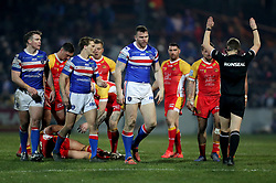 Wakefield Trinity's Keegan Hirst looks on after he is sin binned during the Betfred Super League match at Belle Vue, Wakefield.