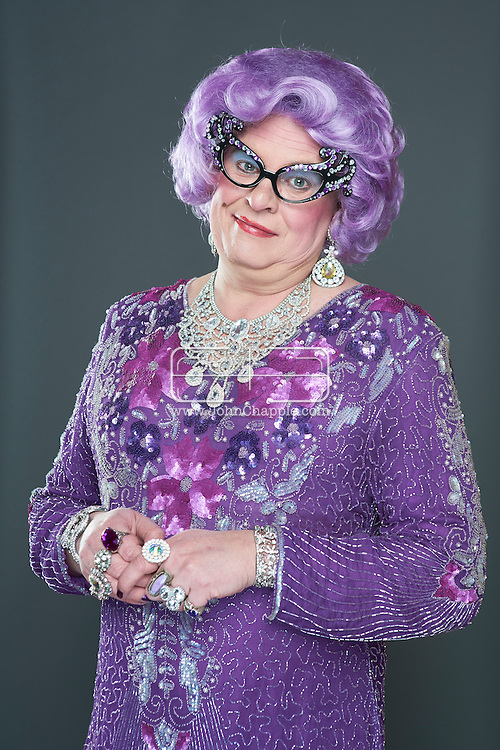 February 22, 2016. Las Vegas, Nevada.  The 22nd Reel Awards and Tribute Artist Convention in Las Vegas. Celebrity lookalikes from all over the world gathered at the Golden Nugget Hotel for the annual event. Pictured is  Dame Edna lookalike, Scott F. Mason.<br /> Copyright John Chapple / www.JohnChapple.com /