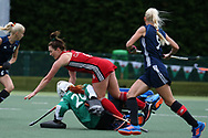 Sophie Clayton of Wales © falls over Belarus keeper Maryna Navitskaya. Belarus v Wales, EuroHockey 11 Women's championshp 2017 in Cardiff, South Wales , Wednesday 9th August 2017<br /> pic by Andrew Orchard