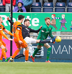 Falkirk's Lee Miller and Dundee United's keeper Luis Zwick. Falkirk 3 v 0 Dundee United, Scottish Championship game played 11/2/2017 at The Falkirk Stadium.