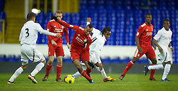 LONDON, ENGLAND - Wednesday, February 1, 2012: Liverpool's Toni Brito De Silva in action against Tottenham Hotspur's Shaquile Coulthirst during the NextGen Series Quarter-Final match at White Hart Lane. (Pic by David Rawcliffe/Propaganda)