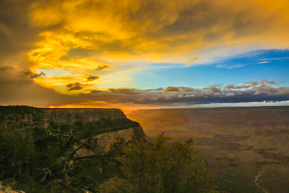 Grand Canyon Sunset, Shoshone Point, May 6, 2016, eve of South Kaibab Trail hike to Phantom Ranch at bottom of the canyon.