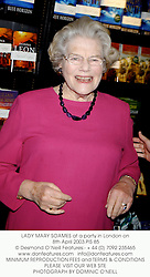 LADY MARY SOAMES at a party in London on 8th April 2003.	PIS 85