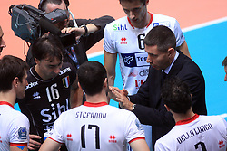 Team of Trentino with coach Radostin Stoychev at volleyball match of CEV Indesit Champions League Men 2008/2009 between Trentino Volley (ITA) and ACH Volley Bled (SLO), on November 4, 2008 in Palatrento, Italy. (Photo by Vid Ponikvar / Sportida)