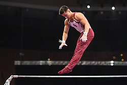 August 18, 2018 - Boston, Massachussetts, U.S - ALEXEI VERNYI practices on the high bar during the warm-up period before the final round of competition held at TD Garden in Boston, Massachusetts. (Credit Image: © Amy Sanderson via ZUMA Wire)