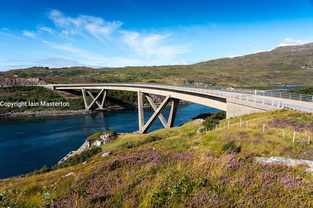 View of Kylesku Bridge crossing Loch a' Chàirn Bhàin in Sutherland, Scotland, UK