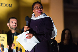 © Licensed to London News Pictures. 23/10/2017. London, UK. Former widow of former South African president NELSON MANDELA, GRACA MACHEL makes a speech in Trafalgar Square at the Walk Together event in memory of Nelson Mandela. Photo credit: Ray Tang/LNP