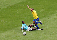 Photo: Chris Ratcliffe.<br /> Brazil v Ghana. Round 2, FIFA World Cup 2006. 27/06/2006.<br /> Adriano dives ove rthe challenge from Ghana keeper Richard Kingson and is yellow carded for it.