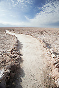 Path through Chaxa Lagoon salt lake, Salar De Atacama, Chile, South America