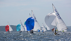 International Dragon Class Scottish Championships 2015.<br /> <br /> Day 1 racing in perfect conditions.<br /> <br /> Fleet downwind with GBR720, Aimee<br /> <br /> Credit Marc Turner