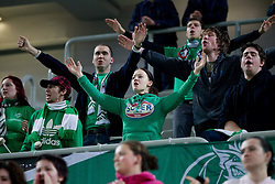 Green Dragons, Fans of Olimpija during basketball match between KK Union Olimpija and Unics Kazan (RUS) of 10th Round in Group D of Regular season of Euroleague 2011/2012 on December 21, 2011, in Arena Stozice, Ljubljana, Slovenia. Unics Kazan defeated Union Olimpija 76-63. (Photo by Vid Ponikvar / Sportida)
