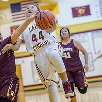 Rehoboth Lynx Patricia Chavira (22, left, contests a layup by Tohatchi Cougar Sherika Watchman (44) at Tohatchi High School Saturday.