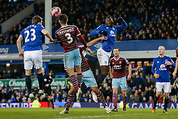 Romelu Lukaku of Everton cant quite connect with a corner ball leaving it for Seamus Coleman who is challenged by Aaron Cresswell of West Ham - Photo mandatory by-line: Rogan Thomson/JMP - 07966 386802 - 06/01/2015 - SPORT - FOOTBALL - Liverpool, England - Goodison Park - Everton v West Ham United - FA Cup Third Round Proper.