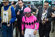 May 4, 2019: 145th Kentucky Derby at Churchill Downs. Maximum Security's jockey LUIS SAEZ after being disqualified