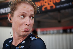 Kirsten Wild (NED) isn't so happy with her unlucky 13 race number at Postnord Vårgårda West Sweden Road Race 2018, a 141 km road race in Vårgårda, Sweden on August 13, 2018. Photo by Sean Robinson/velofocus.com