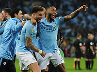 Football - 2019 EFL League Cup Final (Carabao Cup) - Manchester City vs. Chelsea<br /> <br /> Raheem Sterling of Man City celebrates with Kyle Walker after scoring the winning penalty in the shoot out, at Wembley Stadium.<br /> <br /> COLORSPORT/ANDREW COWIE