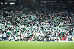 Hibernian's players at their fans..Hibernian 4 v 3 Falkirk, William Hill Scottish Cup Semi Final, Hampden Park..©Michael Schofield..
