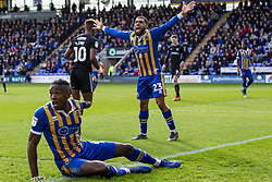 March 23, 2019 - Meadow, Shropshire, United Kingdom - Scott Golbourne of Shrewsbury Town and Omar Beckles of Shrewsbury Town unhappy with the linesman decision during the Sky Bet League 1 match between Shrewsbury Town and Portsmouth at Greenhous Meadow, Shrewsbury on Saturday 23rd March 2019. (Credit Image: © Mi News/NurPhoto via ZUMA Press)