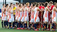 DEN BOSCH -   Oranje voor  de wedstrijd tussen de mannen van Jong Oranje  en Jong Engeland, tijdens het Europees Kampioenschap Hockey -21. ANP KOEN SUYK