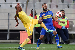 Cape Town-180818 Golden Arrows midfielder Danny Venter challenges Ebrahim Seedat of  Cape Town City  in a PSL match at Cape Town Stadium .photograph:Phando Jikelo/African News Agency/ANA