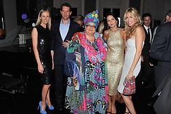 Left to right, NADYA ABELA, MARLON ABELA, CAMILLA BATMANGEILEDH, YASMIN MILLS and MELISSA ODABASH at a dinner hosted by Marlon and Nadya Abela in aid of Kids Company at Morton's, Berkeley Square, London on 25th September 2012.