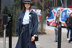 Angela (surname unknown) arrives at the Fashion East Autumn / Winter 2017 London Fashion Week show at Tate Modern, London on Saturday February 18, 2017