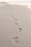 Footprints in the sand at the beach on Hilton Head Island, SC