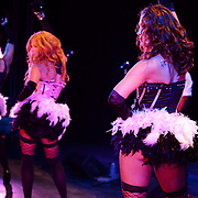 """""""Leggy dancin' dame Frankie Minelli"""" (foreground) performs with Vaud and the Villains at The Music Hall in Portsmouth, NH. July 2012."""