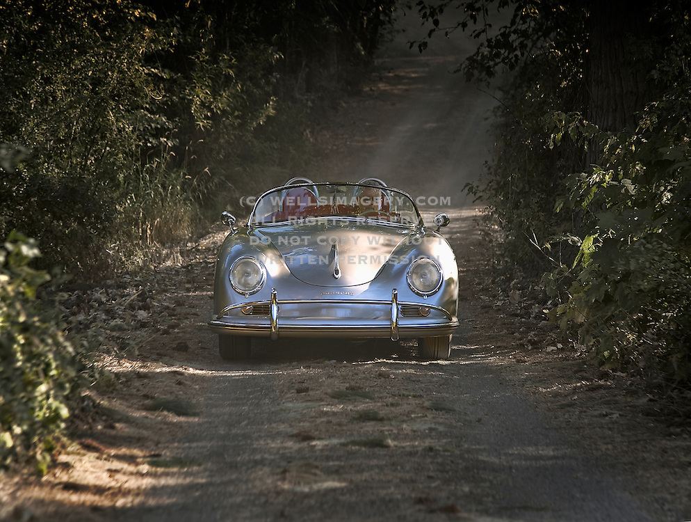 Image of a custom Porsche 356 Speedster convertible sports car in Washington state, Pacific Northwest, model and property released