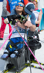 March 17, 2018 - Pyeongchang, South Korea - Oksana Masters of the US is embraced by her boyfriend and fellow paralympic athlete Aaron Pike after her gold medal finish in the Cross Country 5km sitting event Saturday, March 17, 2018 at the Alpensia Biathlon Center at the Pyeongchang Winter Paralympic Games. Photo by Mark Reis (Credit Image: © Mark Reis via ZUMA Wire)