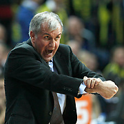 Panathinaikos's coach Zeljko Obradovic during their Euroleague Top 16 week 3 game 3 basketball match Fenerbahce Ulker between Panathinaikos at Fenerbahce Ulker Sports Arena in Istanbul Turkey on Thursday 02 February 2012. Photo by TURKPIX
