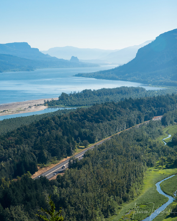 Landscape view to the Northeast along the Columbia River Gorge, Oregon on a hazy summer morning.