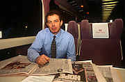 "Leader of the Opposition and future Prime Minister, the Rt. Hon. Tony Blair MP, sits reading newspapers whilst on a train en-route to an evening Labour Party rally in Nottingham, 2 years before his victory in the 1997 General Election, on 2nd February 1995 in London UK. Then, he could travel in relative obscurity, without large security details. Anthony Charles Lynton ""Tony"" Blair (born 6 May 1953) is a British politician who served as the Prime Minister of the United Kingdom from 1997 to 2007 and the Leader of the Labour Party from 1994 to 2007."