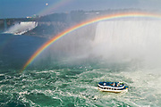 Niagara Falls and rainbow with Maid of the Mist<br />Niagara Falls<br />Ontario<br />Canada