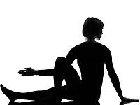 woman Marichyasana yoga sage pose posture position in silouhette on studio white background full length