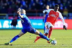 6th January 2018 - FA Cup - 3rd Round - Fleetwood Town v Leicester City - Yohan Benalouane of Leicester battles with Devante Cole of Fleetwood - Photo: Simon Stacpoole / Offside.