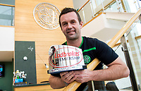 02/02/16 <br /> LENNOXTOWN<br /> Celtic manager Ronny Deila is presented with the Ladbrokes Premiership Manager of the Month award for January