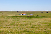 Isolated farm buildings in rolling grassland rural countryside area with blue sky, near Castro Verde, Baixo Alentejo, Portugal, Southern Europe
