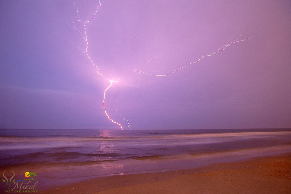 Lightning striling the ocean, with violet sky and sandy beach