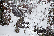 Gibbon Falls in winter in Yellowstone National Park, Wyoming, USA
