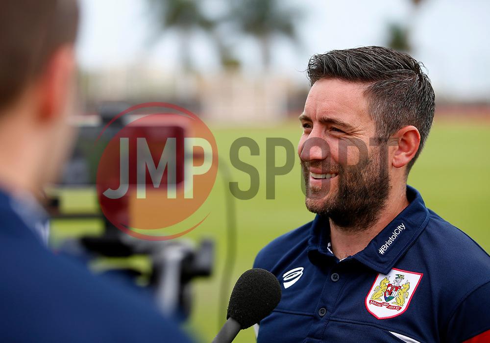 Bristol City head coach Lee Johnson is interviewed pre match - Mandatory by-line: Matt McNulty/JMP - 22/07/2017 - FOOTBALL - Tenerife Top Training - Costa Adeje, Tenerife - Bristol City v Atletico Union Guimar  - Pre-Season Friendly