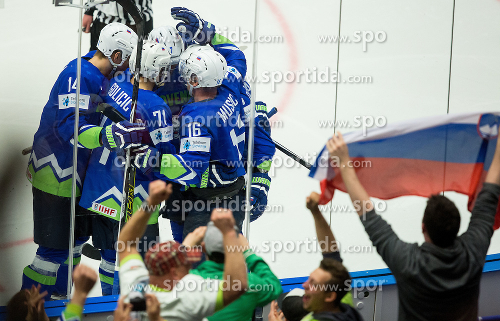 Miha Stebih of Slovenia, Bostjan Golicic of Slovenia, Klemen Pretnar of Slovenia, Ales Music of Slovenia celebrate after scoring first goal for Slovenia during Ice Hockey match between Slovenia and USA at Day 10 in Group B of 2015 IIHF World Championship, on May 10, 2015 in CEZ Arena, Ostrava, Czech Republic. Photo by Vid Ponikvar / Sportida