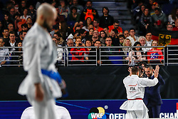 November 10, 2018 - Madrid, Madrid, Spain - Smorguner Ilja (GER) lose the bronce medal and the third place of the tournament of female kata during the Finals of Karate World Championship celebrates in Wizink Center, Madrid, Spain, on November 10th, 2018. (Credit Image: © AFP7 via ZUMA Wire)